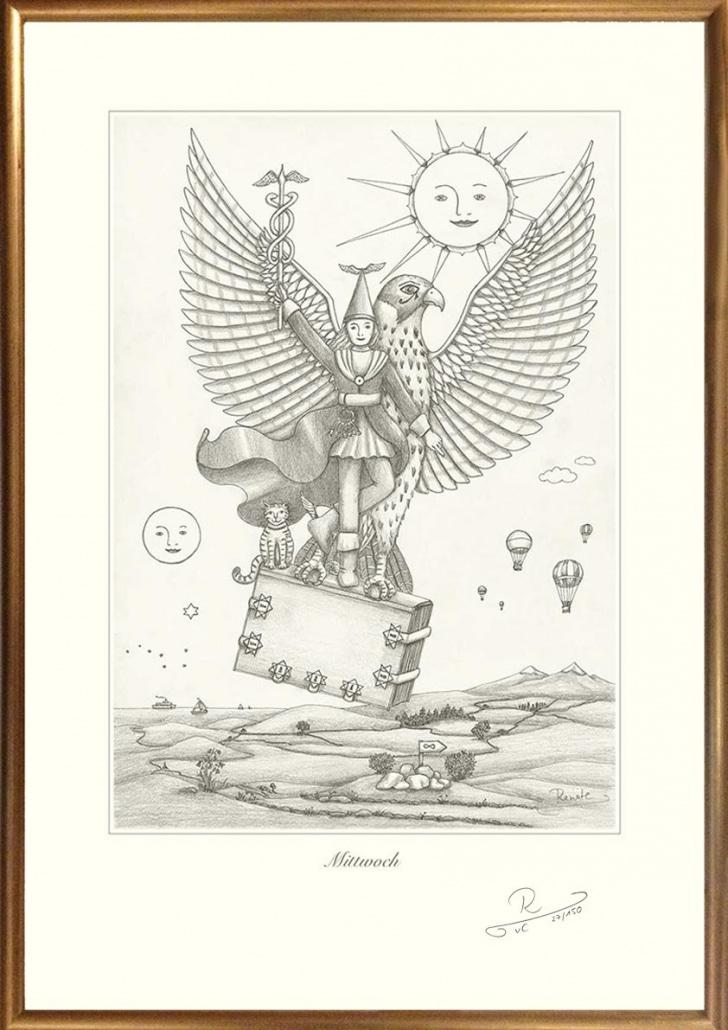 Bild mit handgemachtem Holzbilderrahmen in Gold
